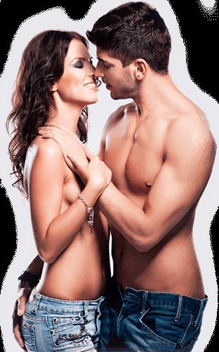 Полуголи мъж и жена в сексуална поза
